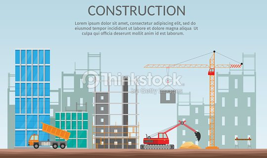 Concept of process construction building a house vector for Process of building a house