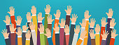 Concept of raised up hands. Volunteering charity, party, concept of education, business training.