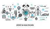 Modern flat thin line design vector illustration, concept of sport, healthy lifestyle and recreation, for graphic and web design