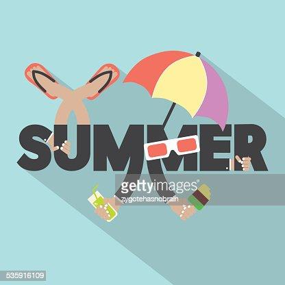Conceito de Design de tipografia de Verão : Arte vetorial