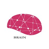 Creative concept of the human brain. Lines connected with dots texture. Brain text