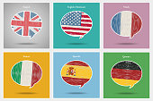 Concept of travel or studying languages. English, German, Spanish, Italian, French. Hand drawn flags in speech bubble. Flat design, vector illustration