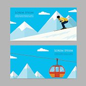 Concept skiing winter sport flat style. cableway, downhill, skier, mountain landscape.