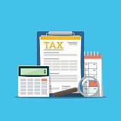 Concept tax payment. Data analysis, paperwork, financial research report and calculation of tax return. Payment of debt. Vector illustration in flat style.
