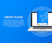 Concept User guide book for web page, banner, social media. Vector stock illustration