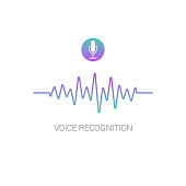 Concept voice recognition. Sound wave on white background. Vector