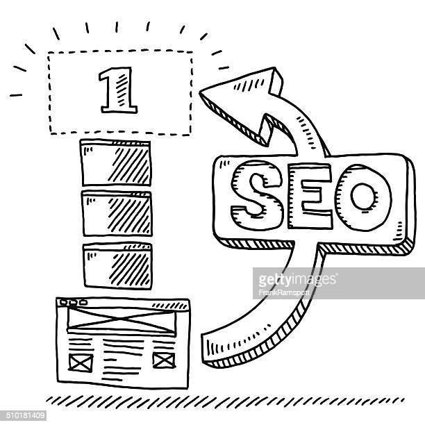 SEO Concept Website Ranking Drawing