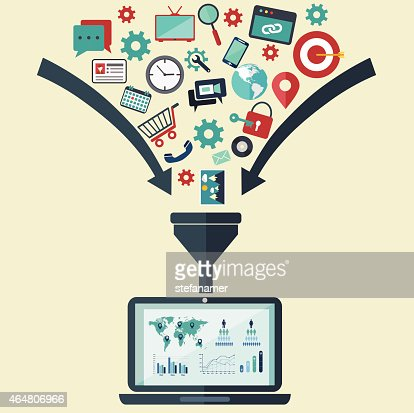 Concepts for creative process, big data filter, data tunnel, analysis : stock vector