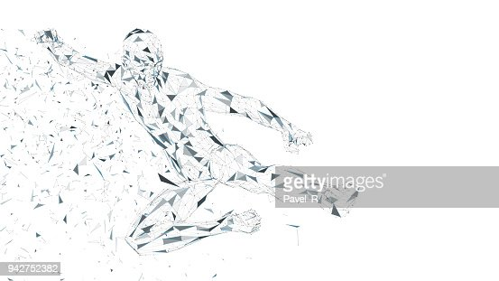 Conceptual abstract man jumping in kung fu kick. Connected lines, dots, triangles, particles. Artificial intelligence concept. High technology vector, digital background. 3D render vector illustration : stock vector
