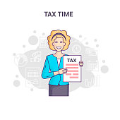 Conceptual banner reminder on tax time flat line design. A light-skinned businesswoman in shirt and tie is hold and show tax return form and tax statistics on a white background.