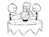 Cartoon stick man concept drawing illustration of business people predict fortune telling market future from the crystal ball.