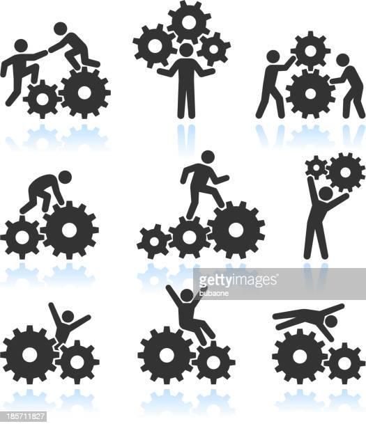 Conceptual Men and Gears Black & White vector icon set