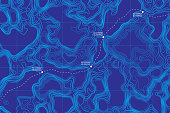 View From Above Lie Of The Ground Conceptual Vector Topographic Map With Route And Coordinates Abstract Blue Background