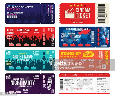 Concert, cinema, airline and football ticket templates. Collection of tickets mock up for entrance to different events. Creative tickets isolated on white background : stock vector