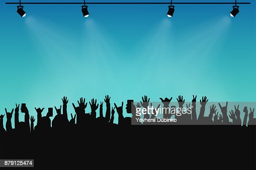 Concert crowd, people silhouettes. Hands with different gestures and smartphones in raised hands. Spotlights on stage : stock vector