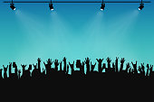 Concert crowd, people silhouettes. Hands with different gestures and smartphones in raised hands. Spotlights on stage. Concert event, poster and ticket template. Vector