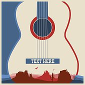 Concert poster of music festival.Vector country music background with guitar
