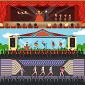 Concerts set horizontal banners. Opera theater with orchestra, artists and red curtains, pop music event, rock music open air festival. Musicians performing at stage. Flat vector cartoon illustration.