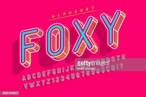 Condensed display font popart design, alphabet, letters and numb : stock vector