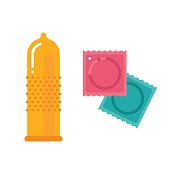 Condom and packages. Vector flat illustration isolated on white background.