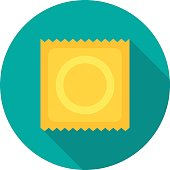 Condom icon with long shadow. Flat design style. Round icon. Condom silhouette. Simple circle icon. Modern flat icon in stylish colors. Web site page and mobile app design vector element.