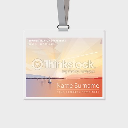 conference name tag mockup template with summer theme illustration