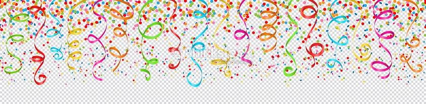 confettis et serpentins en papier motif transparent coloré : clipart vectoriel