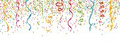 colorful confetti and streamers vector (isolated)