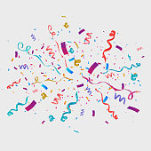 Confetti isolated on transparent background. Festive vector background