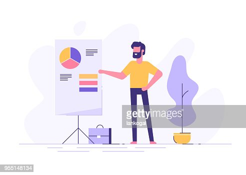 Confident young man standing near flip chart and pointing graph and diagram. Creative business concept. Office interior. Modern vector illustration. Flat design. : stock vector