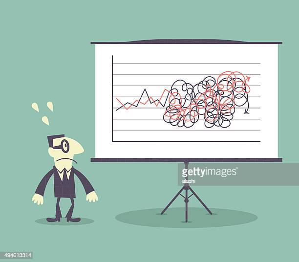 Confused Businessman, whiteboard with tangled messy graphs charts (arrow sign)