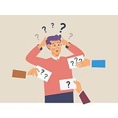 Man with question marks above his head.Flat vector illustration
