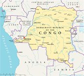 Congo Democratic Republic Political Map with capital Kinshasa, national borders, most important cities, rivers and lakes. Illustration with English labeling and scaling.