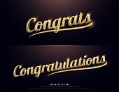 Congrats, Congratulations. Calligraphy lettering. Handwritten phrase with gold text on dark background. vector illustration