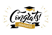 Congrats Graduates, class of 2019. Gold cap icon and lettering for graduation party. Vector design logo for congratulation ceremony, invitation card, banner. University, school, academy grads symbol.