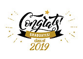 Congrats Graduates, class of 2019. Graduation party icon with gold and black cap. Vector design for congratulation ceremony, invitation card, banner.  Hand drawn lettering.