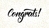 Congrats. Modern handlettering Congrats with polka dot confetti. Greeting card template.