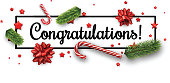White congratulations Christmas banner with candy, fir branches and bows. Vector paper