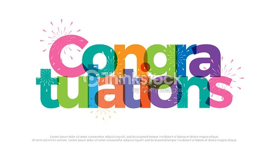 congratulations colorful with fireworks on white background