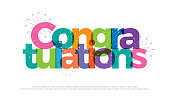 congratulations colorful with fireworks on white background. congratulations icon design for poster banner template. vector illustrator