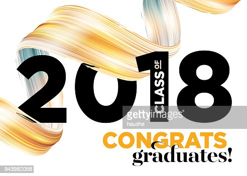 Felicidades graduados clase de 2018 Vector diseño de logotipo. Fondo de tarjetas de felicitación con la cinta de oro creativo de la pintura y tipografía. Premio del estudiante de Universidad. Ceremonia de felicitación. Invitación fiesta : arte vectorial