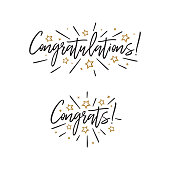 Congratulations. Hand lettering illustration. Calligraphic greeting inscription. Vector handwritten typography. Design element for greeting cards, prints and posters.