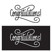 Congratulations. Retro style lettering illustration. Calligraphic greeting inscription. Vector vintage typography illustration.