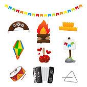 Pacote completo de ícones para festa junina fogueira, chapéu de cangaceiro, chapéu de matuto, maça do amor, zabumba, sanfona, triângulo, balão e bandeirolas. cangaço, forró e forrzeiro
