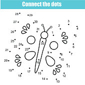 Connect the dots children educational drawing game. Dot to dot by numbers game for kids. Printable worksheet activity with butterfly