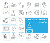 Connected Car service Icons set. Isolated on white background. Vector illustration.