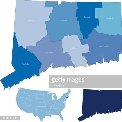 Connecticut State County Map Vector Art Getty Images - Connecticut state map