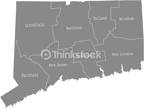 Connecticut State Of Usa County Map Vector Outlines Illustration - Connecticut-on-the-us-map