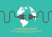 Connection concept flat design, global connecting, vector illustration
