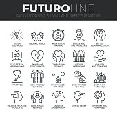 Modern thin line icons set of conscious living, friends relations and emotions. Premium quality outline symbol collection. Simple mono linear pictogram pack. Stroke vector  concept for web graphics.